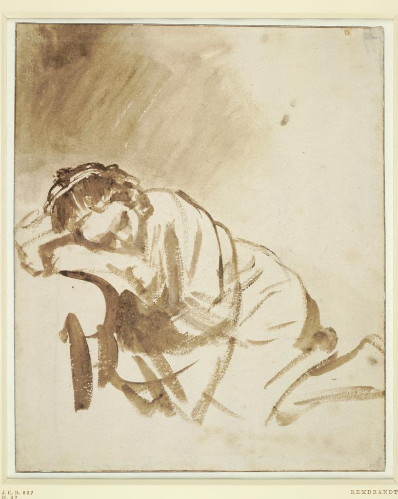 Slapende jonge vrrouw (Hendrickje Stoffels) Rembrandt Harmensz van Rijn ca 1662_1665  British Museum_
